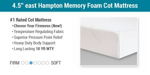 "4.5"" East Hampton Memory Foam Cot Mattress"