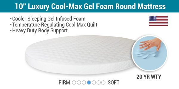"10"" Luxury Cool-Max Gel Foam Round Mattress"