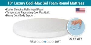 """10"""" Luxury Cool-Max Gel Foam Round Mattress"""